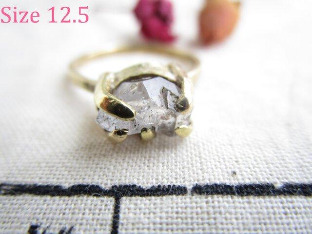 真鍮 ハーキマーダイヤモンド 中 リングの画像1枚目