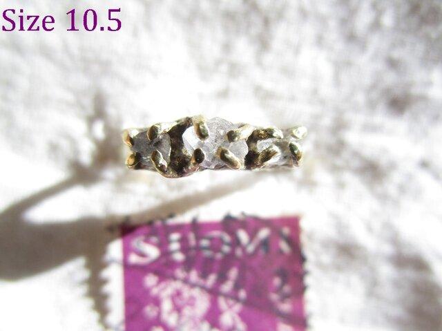 真鍮 3 ハーキマーダイヤモンド リングの画像1枚目