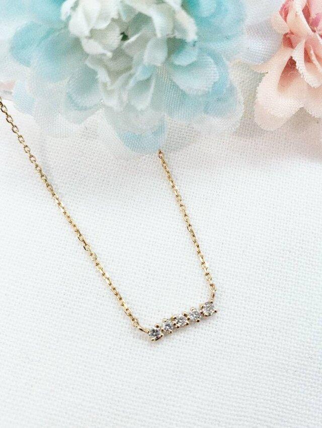 K10 ダイヤモンド5デザインネックレス 日本製」の画像1枚目