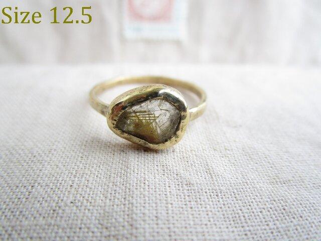 真鍮 ルチルクウォーツ 原石 リングの画像1枚目