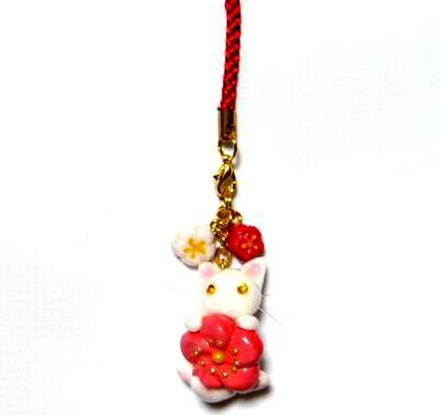 にゃんこのしっぽ○初春にゃんこストラップ〇梅の花〇白猫ゴールドアイの画像1枚目