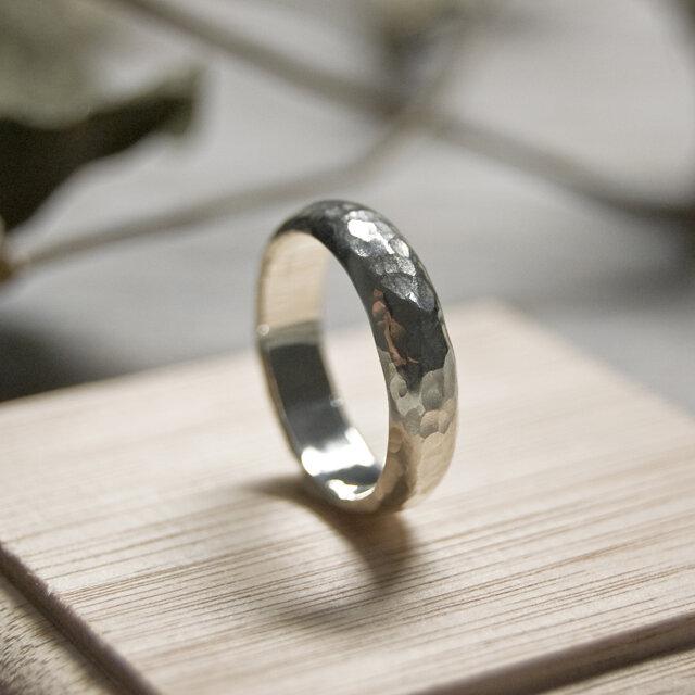 でこぼこ シルバープレーンリング 5.0mm幅 鎚目 シルバー950|SILVER RING 指輪 シンプル|206の画像1枚目