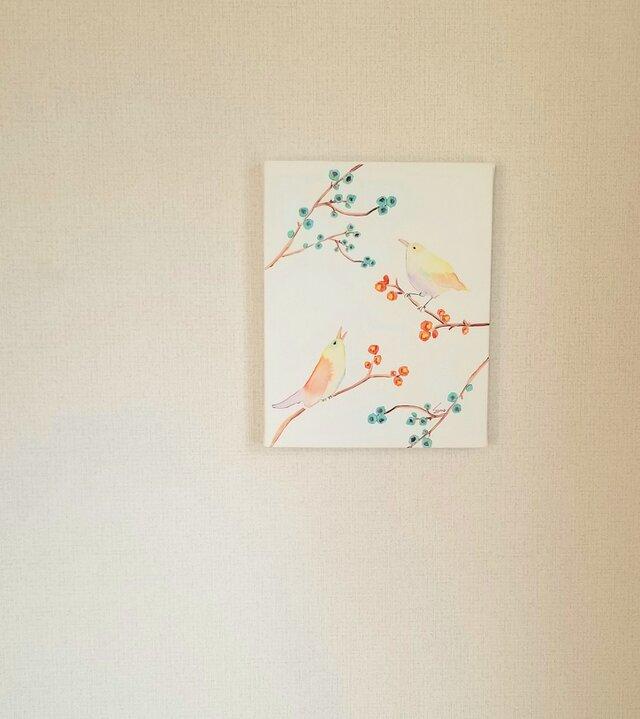 ~小鳥~キャンバスパネルプリントsonojiillustrationの画像1枚目