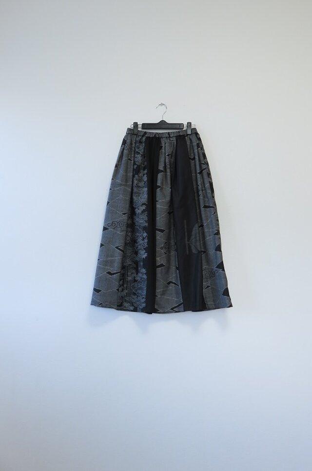 *アンティーク着物*紬のパッチスカート(裏地つき)の画像1枚目