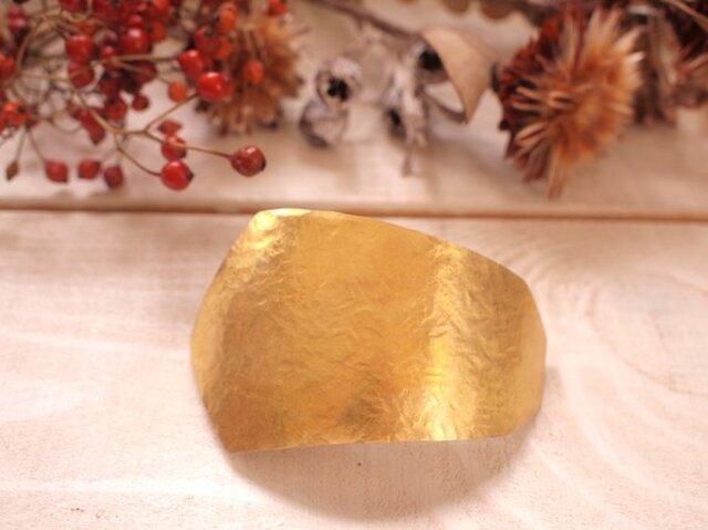 真鍮バレッタ10センチ くるんと湾曲7角形の画像1枚目