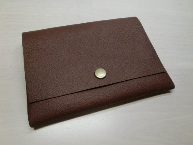 牛革・B7対応パスポートケース・カードポケット付き・ダークブラウン・0179の画像1枚目