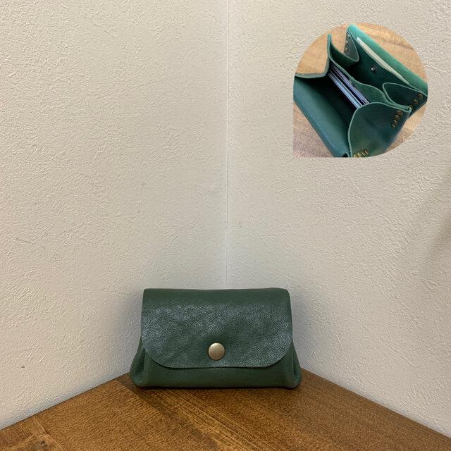 上質牛革 手のひらsize財布◆グリーンの画像1枚目