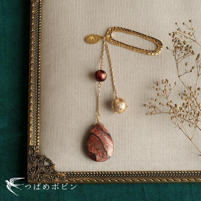 天然石とパールの帯飾り《ジャスパー/A》【送料無料】の画像1枚目