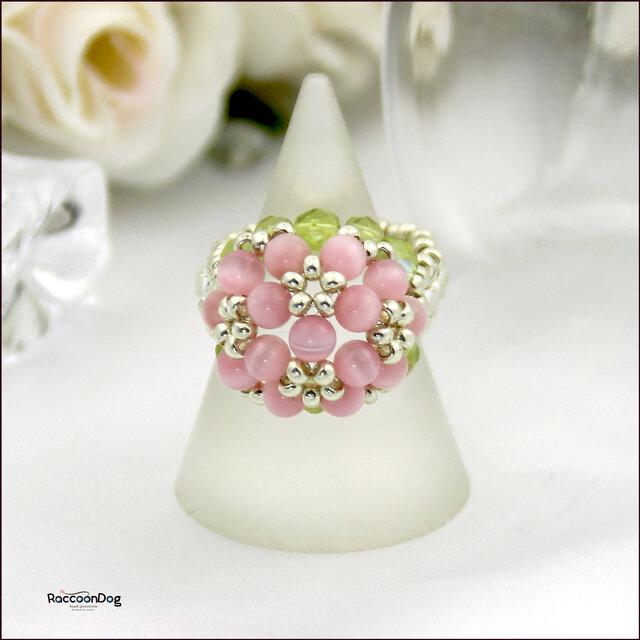 (再販)葉桜のリング【キャッツアイ/チェコビーズ ビーズリング】《ビーズアクセサリー》の画像1枚目
