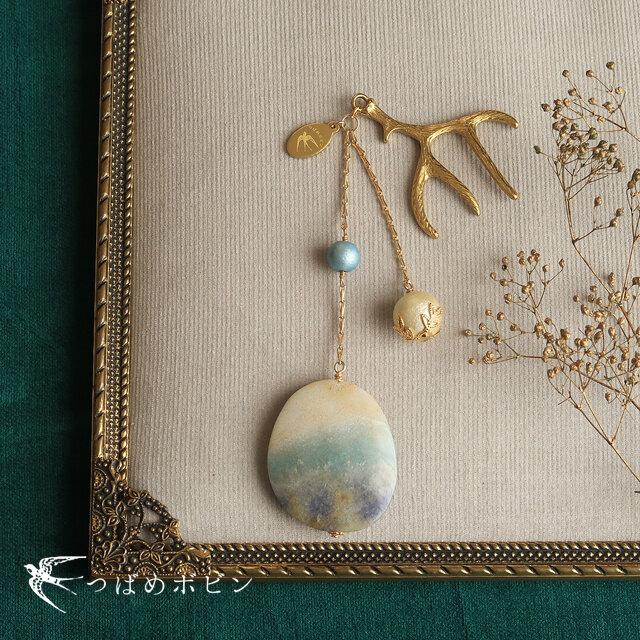 天然石とパールの帯飾り《トリオライト/A》【送料無料】の画像1枚目