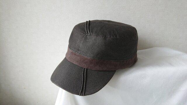魅せる帽子☆ピンタックが素敵♪コットンとスエードのワークキャップ~ブラウンの画像1枚目