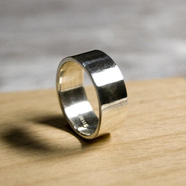 鏡面 シルバーフラットリング 7.0mm幅 ミラー シルバー950|SILVER RING 指輪 シンプル|207の画像1枚目