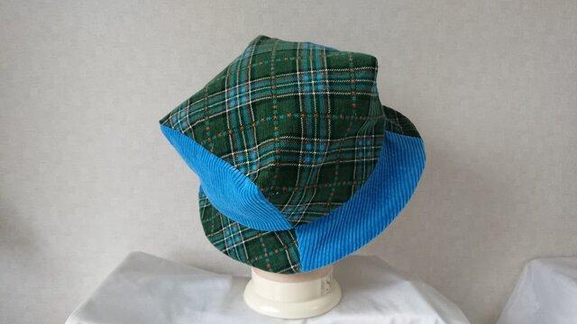 魅せる帽子☆あら不思議♪四角いトップのバイカラーハット~ブルー&グリーンの画像1枚目