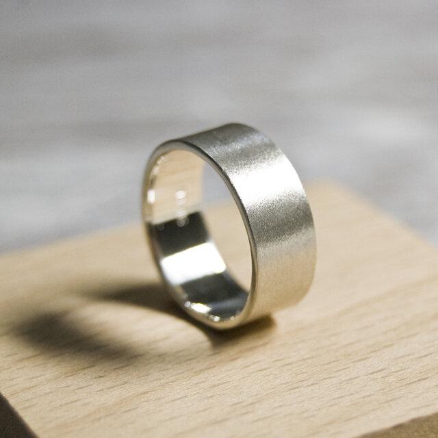 つや消し シルバーフラットリング 7.0mm幅 マット シルバー950|SILVER RING 指輪 シンプル|208の画像1枚目