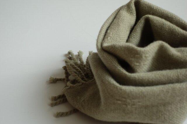 手織りウールマフラー・・丁子の画像1枚目