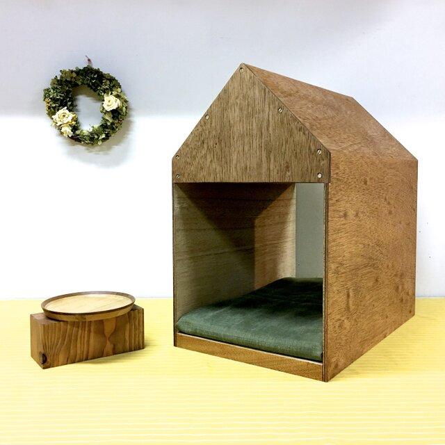 インテリアになる犬小屋 ドッグハウス  ペットハウス 木製 ブラウン 室内用の画像1枚目