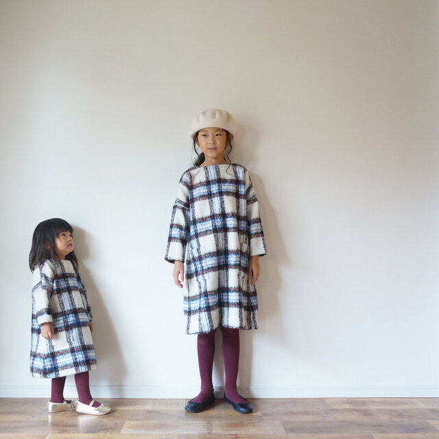 Check shaggy one-piece kids 1(80cm~),2(100cm~)sizeの画像1枚目