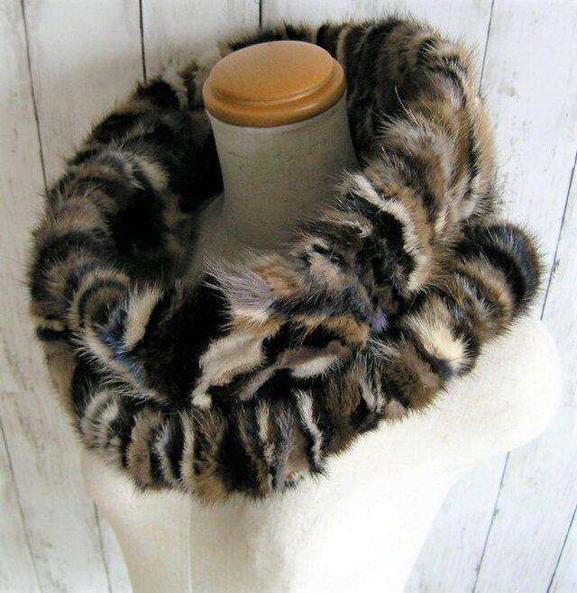 ¶ new antique fur ¶ マルチカラーミンクゆったり大きめnejiriスヌード「varim」の画像1枚目