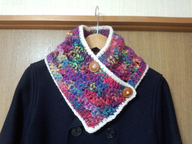 手縫い屋☆編み編み☆おしゃれネックウォーマー76㎝☆ラスベガスネオン色&白☆ギフトの画像1枚目