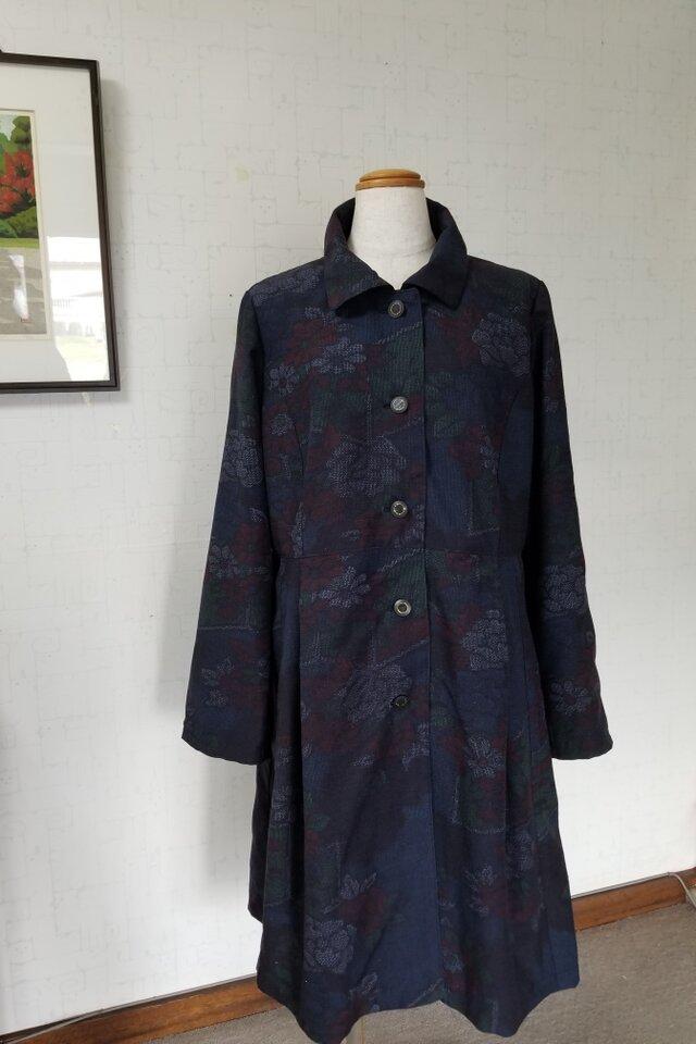 十日町紬リメイク ステンカラーのコート(総裏付き)の画像1枚目