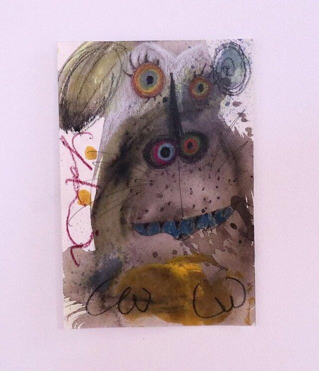 手描きの現代アート/現代絵画/おしゃれな壁掛け/カラフルな現代アート/可愛いインテリア・もくもくシリーズ・犬の画像1枚目