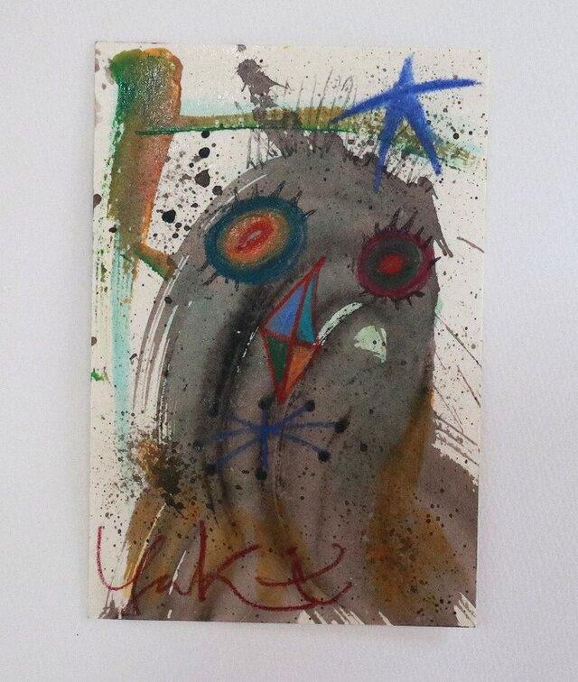 手描きの現代アート/現代絵画/おしゃれな壁掛け/可愛いインテリア/カラフルな絵画・もくもくシリーズ・怪獣と夜空の画像1枚目