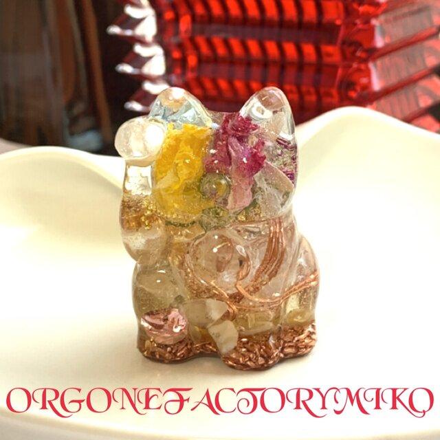 金運 幸運 六芒星 幸運メモリーオイル入 招き猫ちゃん オルゴナイト 右手上げの画像1枚目