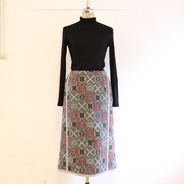 丸紋繋ぎのレールデザインスカート MLサイズの画像1枚目