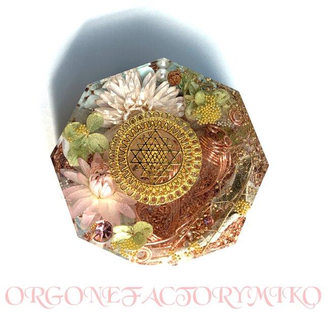 豊かな富をもたらすシュリヤントラ ケオン 繁栄 癒し 浄化 六芒星 幸運メモリーオイル入 コースター型の画像1枚目