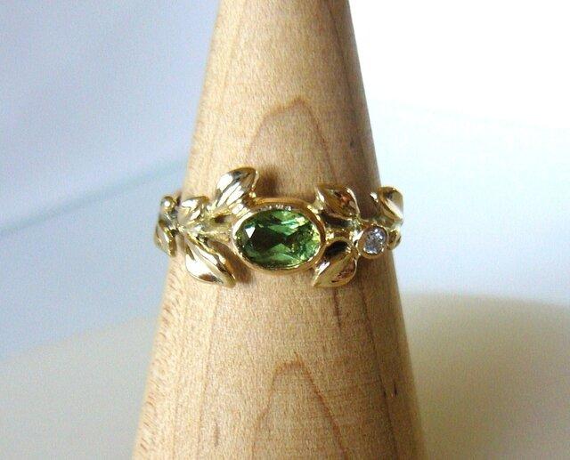 デマントイドガーネットとダイヤのリーフの指輪(K14)の画像1枚目