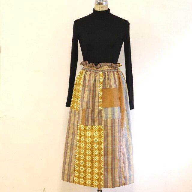 ほっこりイエローのリラックスゴムスカート Fサイズの画像1枚目