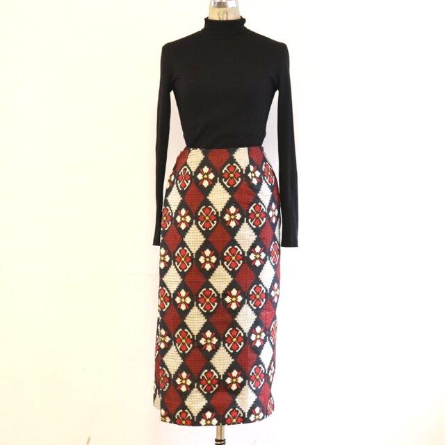 絹 花菱 巻スカート風ロングスカート 銘仙 MLサイズの画像1枚目