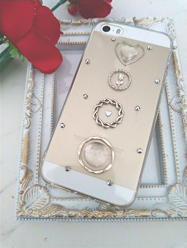 iPhoneケース Android スマホケース バラとクリアーカボションの画像1枚目