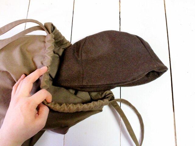 HELMA HAT | FLANNELWOOL c/#BROWN【M58】の画像1枚目
