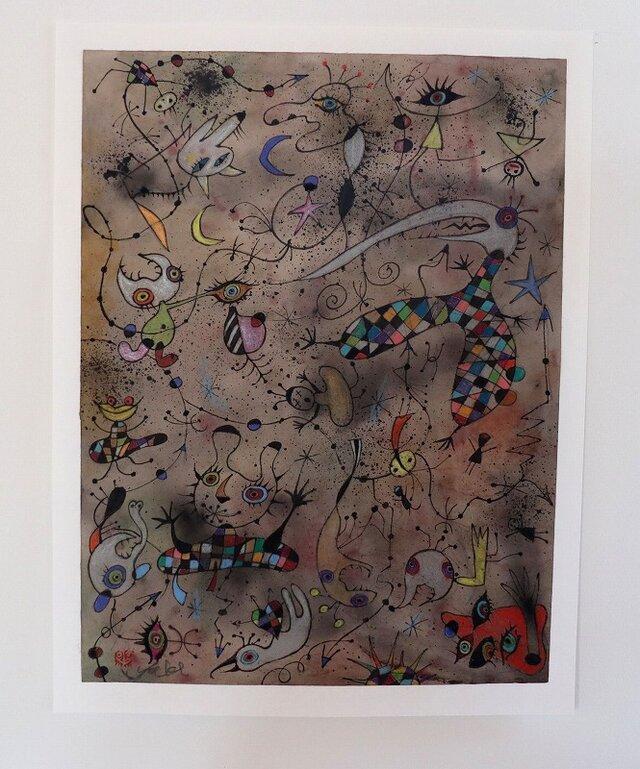 カラフルな現代アート/絵画/モダンアート/インテリア絵画/手描き現代絵画・ボクの気分は上昇中NO.2の画像1枚目