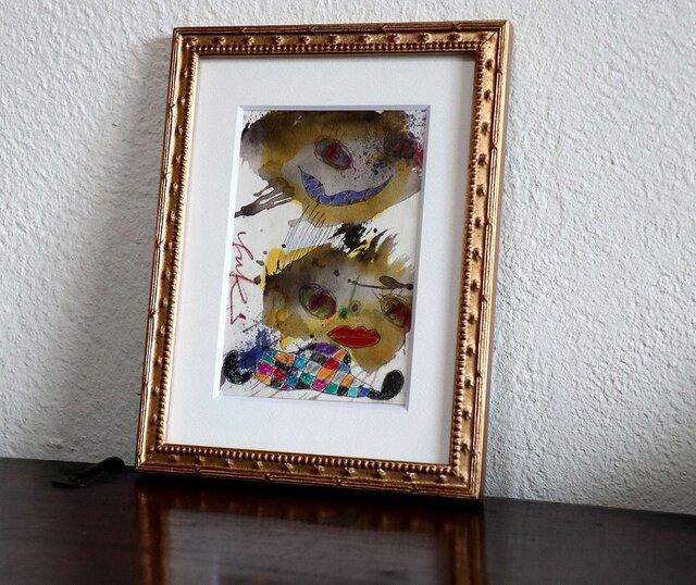 手描きの現代アート/現代絵画/おしゃれな壁掛け/可愛いインテリア/カラフルな絵画・もくもくシリーズ・双子の星の画像1枚目
