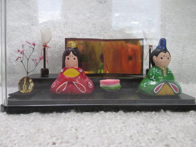 お雛様 ひな人形 おひな祭り クリアケース付きの画像1枚目