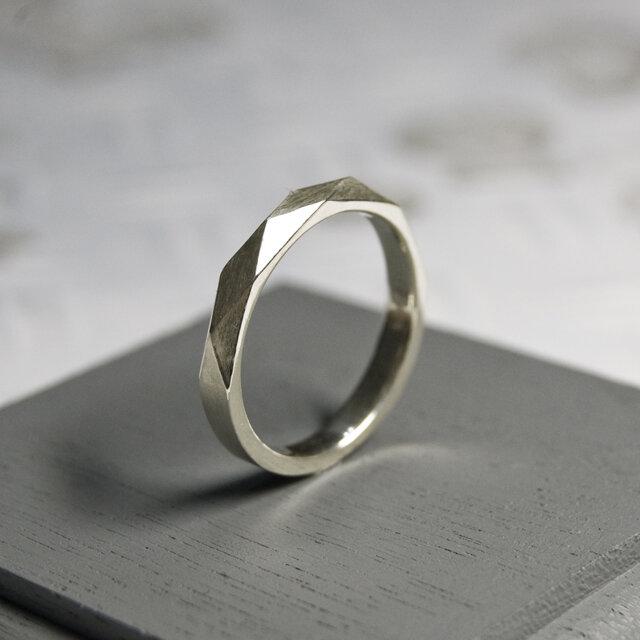 つや消し シルバーファセットリング 2.8mm幅 マット シルバー925|SILVER RING 指輪 シンプル|210の画像1枚目