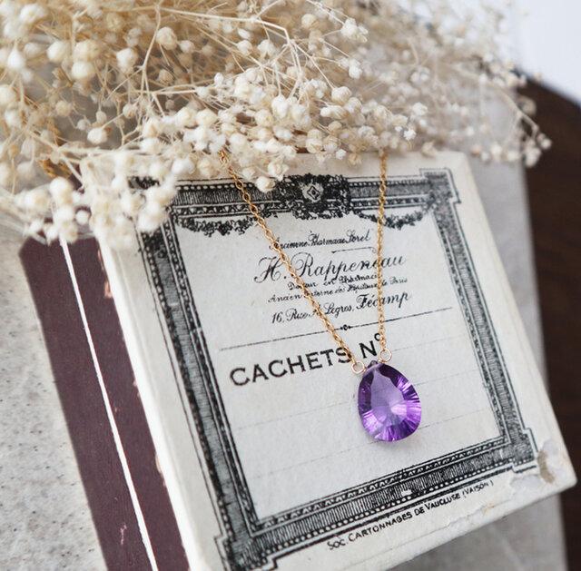 【14kgf】宝石質アメジストの一粒ネックレス(コンケーブカット)*2月誕生石の画像1枚目