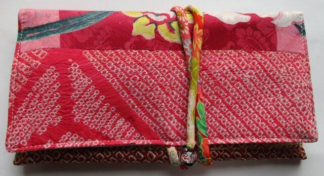 4655 絞りと花柄の着物で作った和風財布・ポーチ #送料無料の画像1枚目