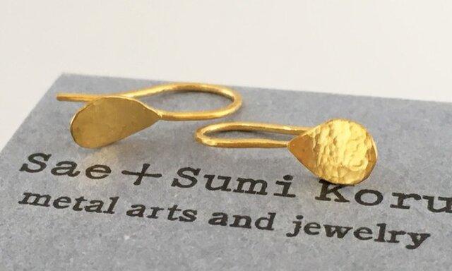 K24 Pure Gold Drops ◇純金ピアス/ホック・クリップタイプ◇片耳の画像1枚目