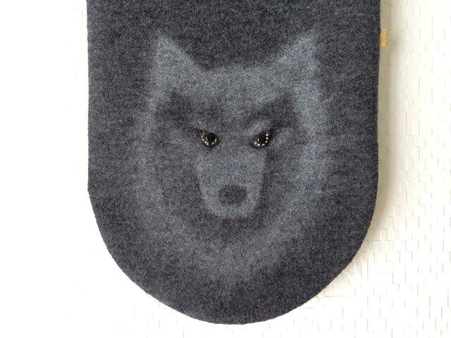 隠れ*オオカミ* 暖かウールマフラーの画像1枚目