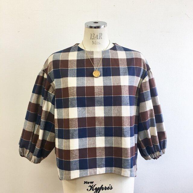 あったかネル素材❤️チェック柄ふんわり袖ブラウス 茶色(サイズフリー L〜 L L)の画像1枚目