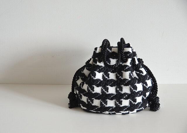 数量限定 イタリア製 モノトーン千鳥格子ファンシーツイード マリンバッグ ブラック フォーマルコーデにもの画像1枚目