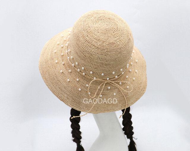 ☆超細目編み ビーズの飾り付け 手作りの麦わら帽子の画像1枚目
