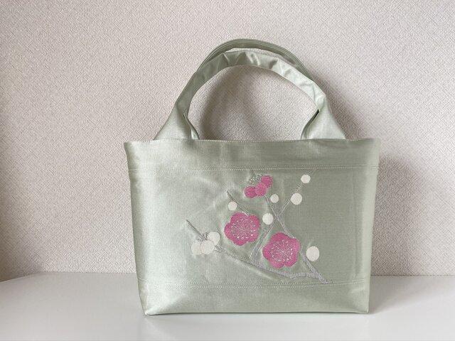 帯バッグ〜ピンクと白の梅の花〜の画像1枚目