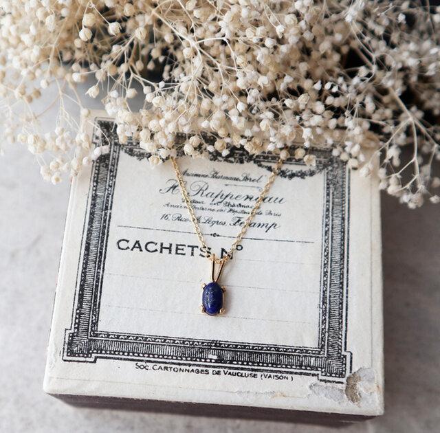 【14kgf】宝石質ラピスラズリの一粒ネックレスの画像1枚目