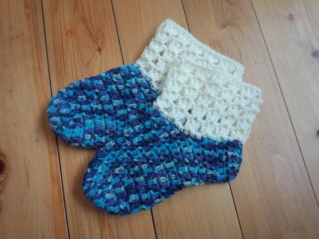 手縫い屋☆編み編みソックス☆レッグウォーマー☆青色混ざり&白☆ウール100%☆優しくあったか☆ギフト☆きれいの画像1枚目
