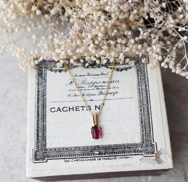 【14kgf】宝石質ピンクトルマリンの一粒ネックレスの画像1枚目
