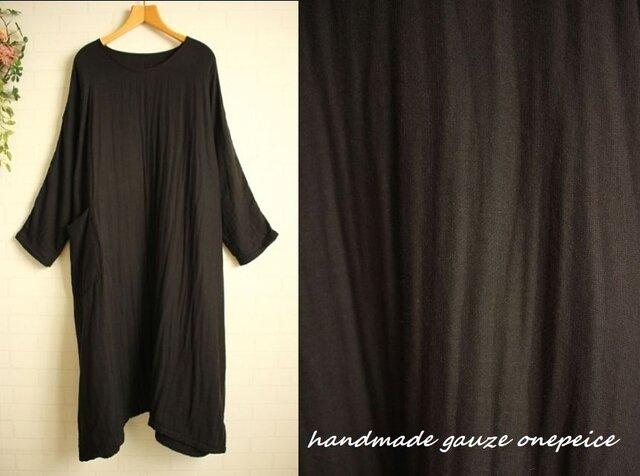 4重ガーゼ ポケット付き ドルマンワンピース 大きいサイズ 黒色 綿100%  3L 4L 送料無料の画像1枚目
